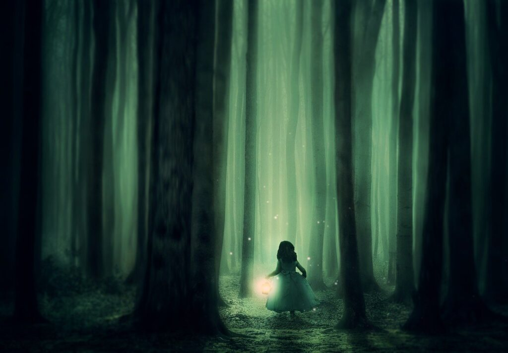 forest, girl, trees